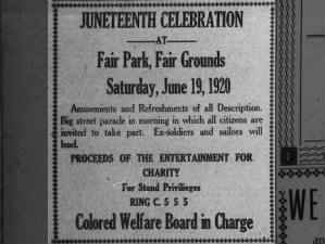 Texas Juneteenth Celebration 1920 advert announces parade, amusements and refreshments