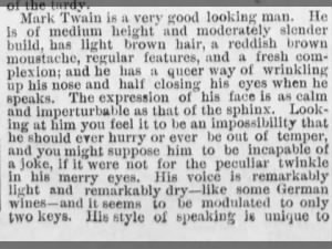 Physical description of Mark Twain, 1869