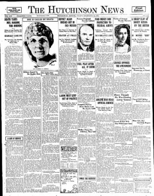 The Hutchinson News from Hutchinson, Kansas on November 21, 1924 · Page 1