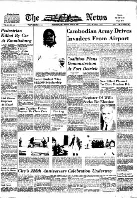 The News from Frederick, Maryland on June 8, 1970 · Page 1