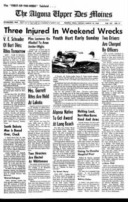 The Algona Upper Des Moines from Algona, Iowa on March 19, 1968 · Page 1