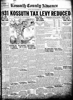Kossuth County Advance from Algona, Iowa on September 24, 1931 · Page 1