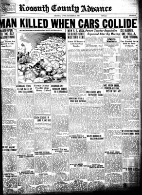 Kossuth County Advance from Algona, Iowa on October 22, 1931 · Page 1