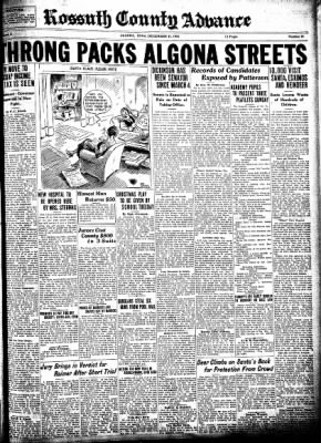 Kossuth County Advance from Algona, Iowa on December 17, 1931 · Page 1