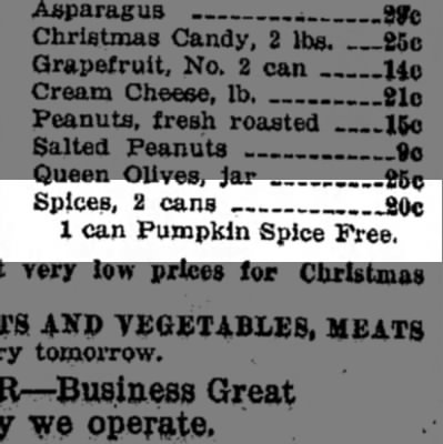 "1931: 1 can ""pumpkin spice"" free -"