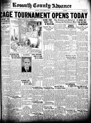 Kossuth County Advance from Algona, Iowa on March 3, 1932 · Page 1