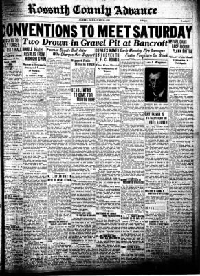 Kossuth County Advance from Algona, Iowa on June 30, 1932 · Page 1
