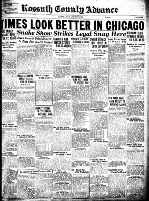 Kossuth County Advance from Algona, Iowa on August 18, 1932 · Page 1