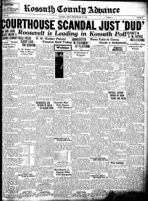 Kossuth County Advance from Algona, Iowa on September 29, 1932 · Page 1