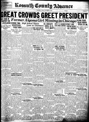 Kossuth County Advance from Algona, Iowa on October 6, 1932 · Page 1