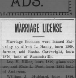 Marriage License Issued to Alfred Haney and Basha Cartwright