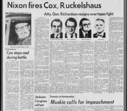 Richard Nixon fires special prosecutor Archibald Cox and others in