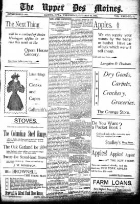 The Algona Upper Des Moines from Algona, Iowa on October 24, 1894 · Page 1