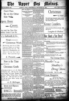 The Algona Upper Des Moines from Algona, Iowa on December 26, 1894 · Page 1