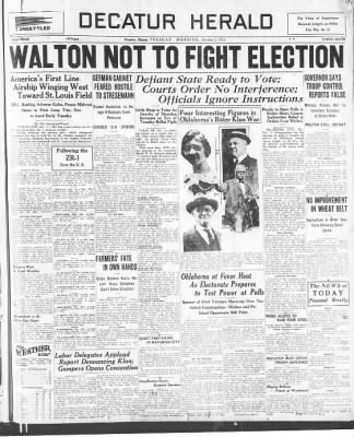 The Decatur Herald From Decatur Illinois On October 2 1923 Page 1