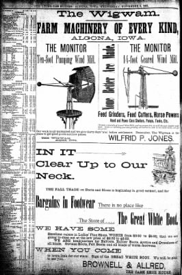 The Algona Upper Des Moines from Algona, Iowa on November 6, 1895 · Page 6