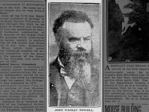 Photo of John Wesley Powell, first known explorer to travel by boat through Grand Canyon