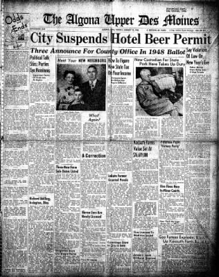 The Algona Upper Des Moines from Algona, Iowa on January 13, 1948 · Page 1