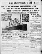 U.S. paper reports sinking of Lusitania; Includes news of local residents on board