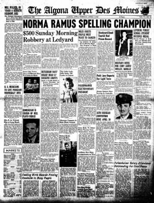 The Algona Upper Des Moines from Algona, Iowa on April 7, 1942 · Page 1