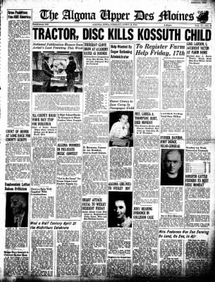The Algona Upper Des Moines from Algona, Iowa on April 14, 1942 · Page 1