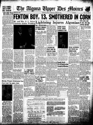 The Algona Upper Des Moines from Algona, Iowa on April 28, 1942 · Page 1