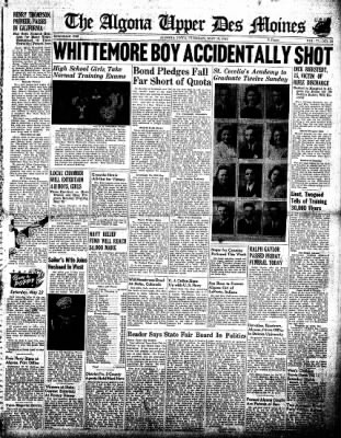 The Algona Upper Des Moines from Algona, Iowa on May 19, 1942 · Page 1