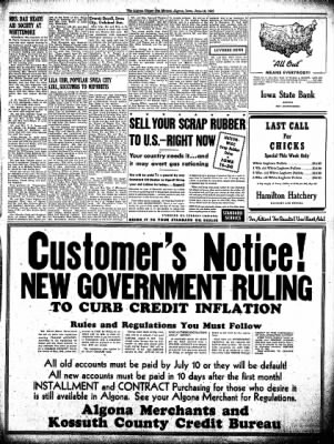 The Algona Upper Des Moines from Algona, Iowa on June 16, 1942 · Page 9