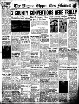 The Algona Upper Des Moines from Algona, Iowa on June 23, 1942 · Page 1
