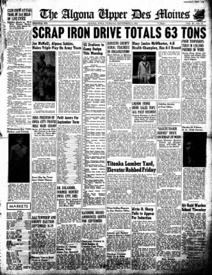 The Algona Upper Des Moines from Algona, Iowa on September 1, 1942 · Page 1