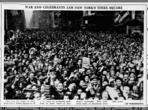 Photo of the crowd in New York City's Times Square celebrating victory in Europe on May 7, 1945