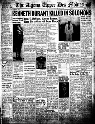 The Algona Upper Des Moines from Algona, Iowa on January 7, 1943 · Page 1