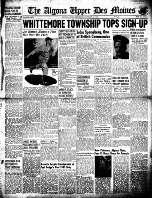 The Algona Upper Des Moines from Algona, Iowa on January 14, 1943 · Page 1