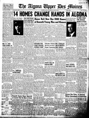 The Algona Upper Des Moines from Algona, Iowa on July 29, 1943 · Page 1