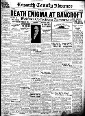 Kossuth County Advance from Algona, Iowa on November 24, 1932 · Page 1