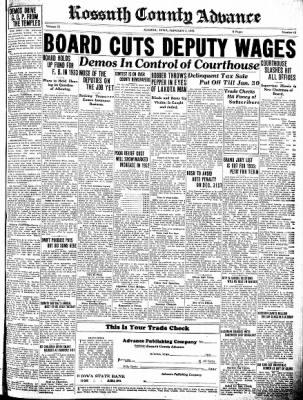 Kossuth County Advance from Algona, Iowa on January 5, 1933 · Page 1