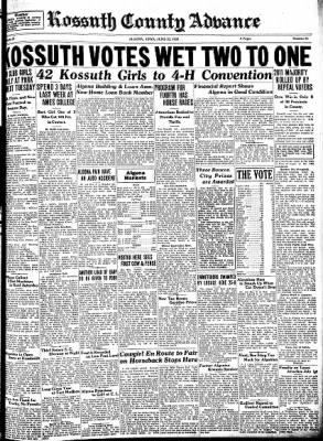 Kossuth County Advance from Algona, Iowa on June 22, 1933 · Page 1