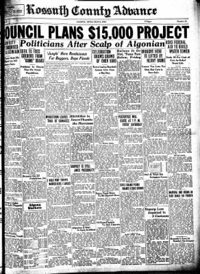 Kossuth County Advance from Algona, Iowa on July 6, 1933 · Page 1