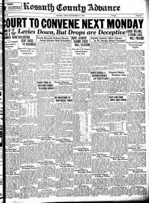 Kossuth County Advance from Algona, Iowa on September 21, 1933 · Page 1