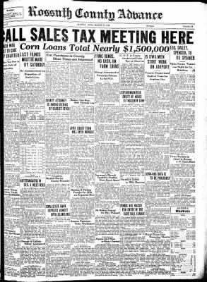 Kossuth County Advance from Algona, Iowa on March 29, 1934 · Page 1
