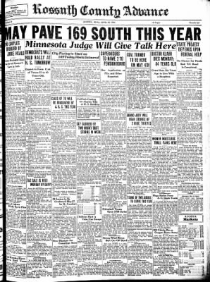 Kossuth County Advance from Algona, Iowa on April 26, 1934 · Page 1