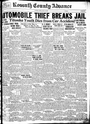 Kossuth County Advance from Algona, Iowa on July 12, 1934 · Page 1
