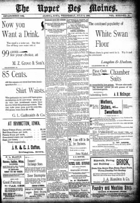 The Algona Upper Des Moines from Algona, Iowa on July 8, 1896 · Page 1