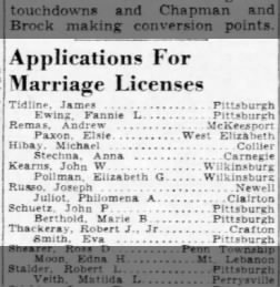 Pittsburgh Post-Gazette November 4, 1944 Page 8 Thackeray/Smith Marriage License
