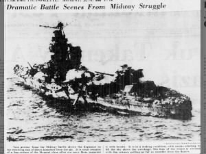 Photo of the damage inflicted to a Japanese cruiser during the Battle of Midway