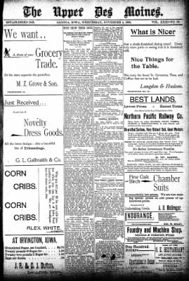 The Algona Upper Des Moines from Algona, Iowa on November 4, 1896 · Page 1