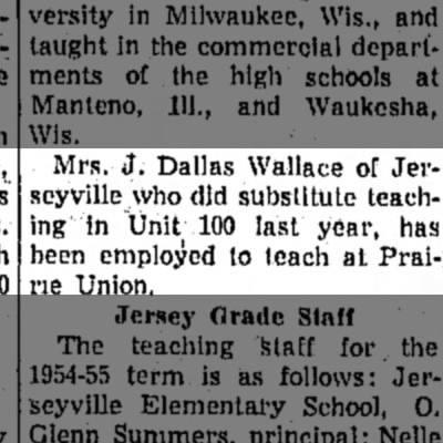 Mrs. Wallace hired to teach -