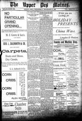 The Algona Upper Des Moines from Algona, Iowa on December 30, 1896 · Page 1