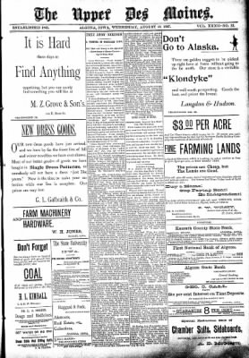 The Algona Upper Des Moines from Algona, Iowa on August 18, 1897 · Page 1