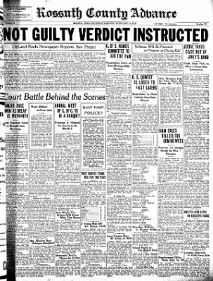 Kossuth County Advance from Algona, Iowa on February 10, 1938 · Page 1